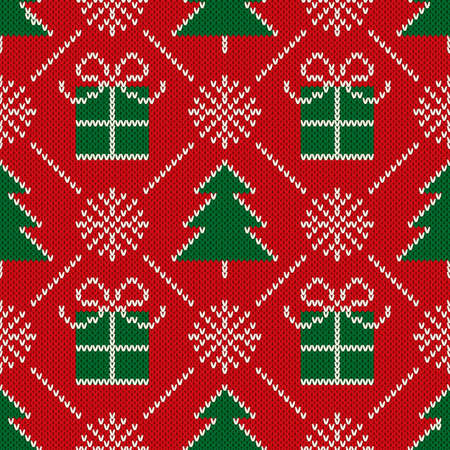 Christmas Seamless Knit Pattern with Holiday Symbols: Christmas Trees, Snowflakes and Present Boxes. Scheme for Knitted Sweater Pattern Design or Cross Stitch Embroidery. Ilustrace
