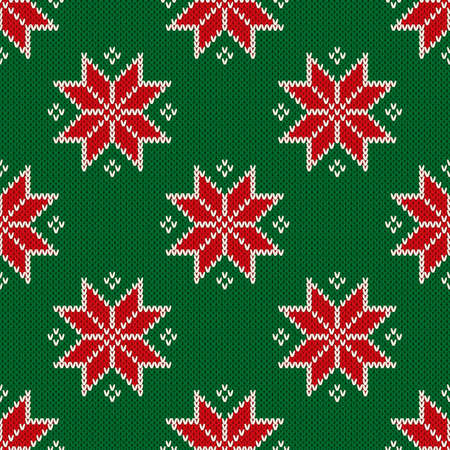 Christmas Seamless Knitted Pattern with Snowflakes. Christmas and New Year Design Background. Knitting Sweater Design.