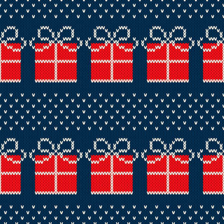 Winter Holiday Seamless Knitted Pattern with a Present Boxes. Nordic Sweater Design. Wool Knit Texture Imitation. Illustration