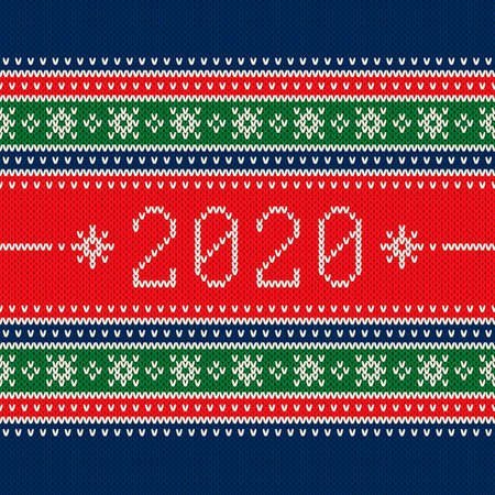 New Year 2020. Winter Holiday Seamless Knitted Background. Wool Knit Texture Imitation. 写真素材 - 130074125