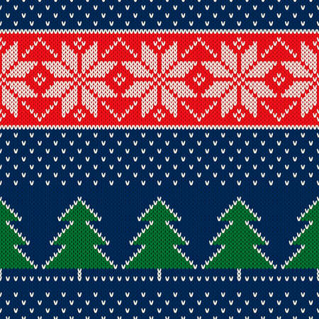 Winter Holiday Seamless Knitted Pattern with a Christmas Trees and Snowflakes. Scheme for Knit Sweater Pattern Design or Cross Stitch Embroidery. Ilustracja