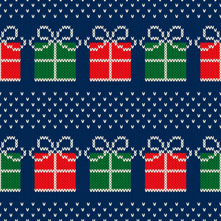 Christmas Holiday Seamless Knitted Pattern with a Present Boxes. Nordic Fair Isle Sweater Design. Wool Knit Texture Imitation. Illustration
