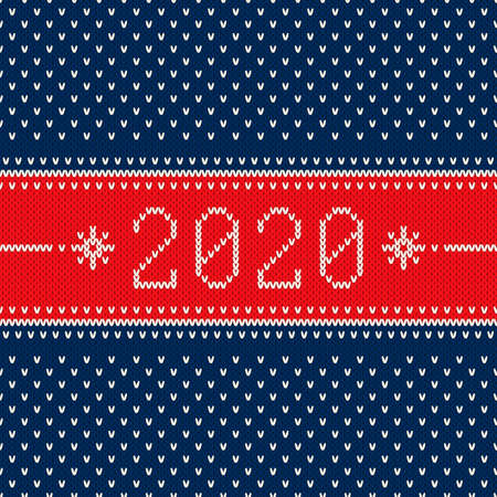 New Year 2020. Winter Holiday Seamless Knitted Background. Wool Knit Texture Imitation