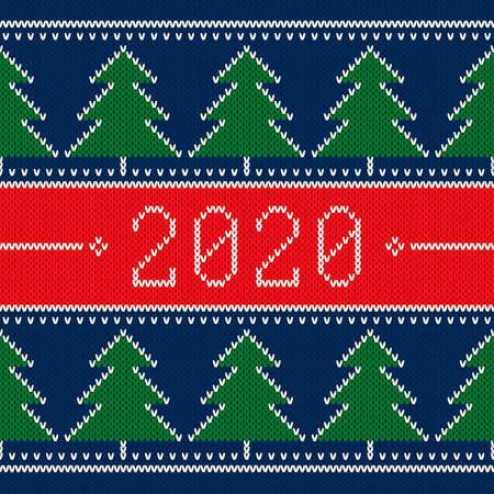 New Year 2020. Winter Holiday Seamless Knitted Background. Christmas Trees Ornament. Wool Knit Texture Imitation. Illusztráció