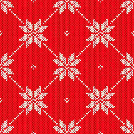 Christmas Knitted Sweater Pattern Design. Vector Seamless Wool Knit Texture Imitation.