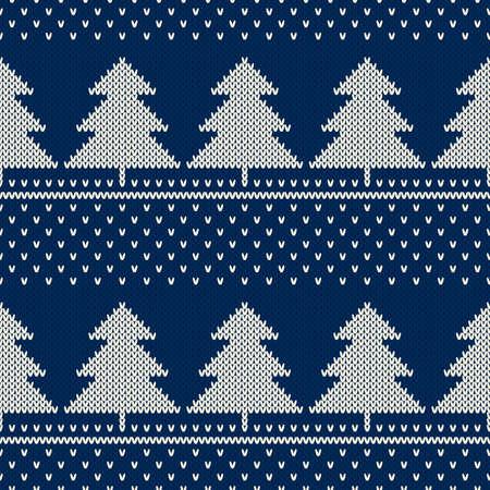 Modello a maglia per vacanze invernali. Ornamento di alberi di Natale. Imitazione di struttura di maglia di lana senza giunte di vettore.
