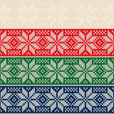 Winter Holiday Knitted Sweater Pattern Design. Traditional Christmas Stars Ornament. Vector Seamless Wool Knit Texture Imitation.