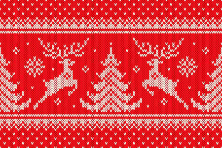 Traditional Winter Holiday Knitting Pattern with Reindeers and Christmas Trees. Scheme for Wool Knit Christmas Sweater Design or Cross Stitch Embroidery. Vector Seamless Background.