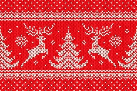 Tradycyjny zimowy wzór dziewiarski z reniferami i choinkami. Schemat wełny Knit Christmas Sweter Design lub haft krzyżykowy. Bezszwowe tło wektor.