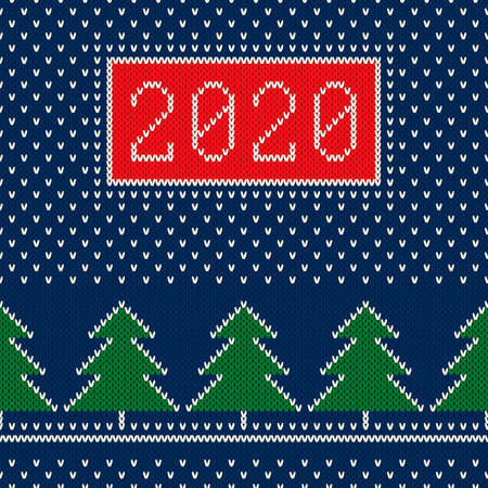 New Year 2020. Winter Holiday Seamless Knitted Background. Wool Knit Texture Imitation. Archivio Fotografico - 137755377