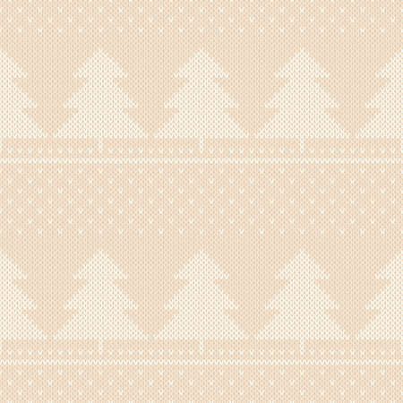 Winter Holiday Knitted Pattern. Christmas Trees Ornament. Vector Seamless Wool Knit Texture Imitation. Çizim