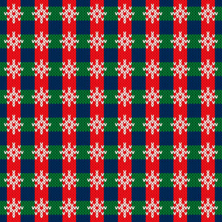 Christmas Holiday Knitted Sweater Pattern Design. Checkered Snowflakes Ornament. Vector Seamless Wool Knit Texture Imitation