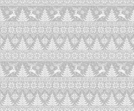 Winter Holiday Pixel Pattern with Deer and Christmas Trees. Traditional Nordic Seamless Striped Ornament. Scheme for Knitted Sweater Pattern Design or Cross Stitch Embroidery.