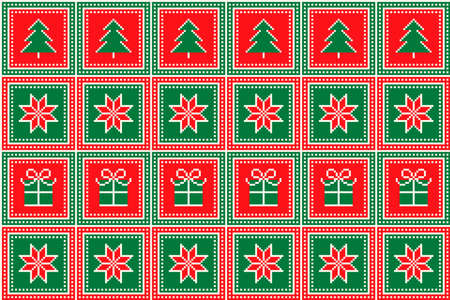 Christmas Pixel Pattern with Christmas Trees, Stars and Gift Box Ornament. Ugly Sweater Party Pattern Design. Scheme for Patchwork Quilt or Knitted Sweater Pattern Design .