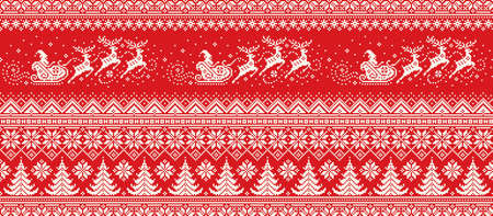 Santa Claus Rides Reindeer Sleigh Silhouette. Christmas Pixel Pattern. Traditional Nordic Seamless Striped Ornament. Scheme for Knitted Sweater Pattern Design or Cross Stitch Embroidery.