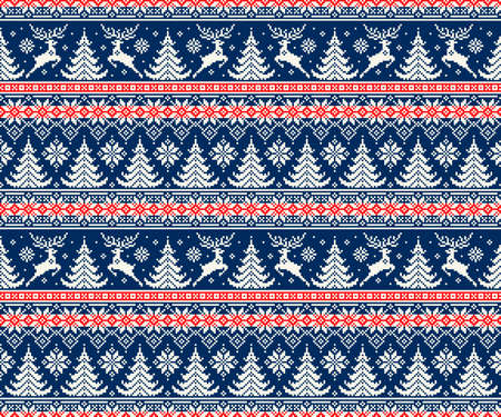 Modèle de pixel de vacances d'hiver avec des cerfs et des arbres de Noël. Ornement rayé sans couture nordique traditionnel. Schéma pour la conception de modèle de pull en tricot ou la broderie au point de croix.