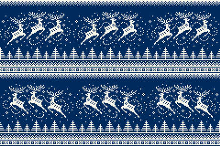 Winter Holiday Pixel Pattern with Reindeers Flying over the Winter Forest. Traditional Nordic Seamless Striped Ornament. Scheme for Knitted Sweater Pattern Design or Cross Stitch Embroidery. 일러스트