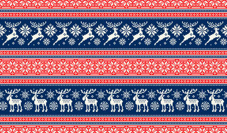 Christmas Pixel Pattern with Deers and Elks. Traditional Nordic Seamless Striped Ornament. Scheme for Knitted Sweater Pattern Design or Cross Stitch Embroidery.