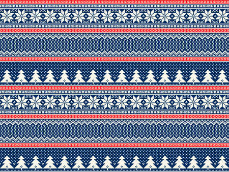 Winter Holiday Pixel Pattern with Christmas Trees. Traditional Nordic Seamless Striped Ornament. Scheme for Knitted Sweater Pattern Design or Cross Stitch Embroidery.