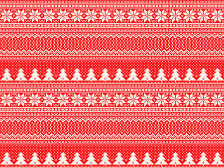 Winter Holiday Pixel Pattern with Christmas Trees. Traditional Nordic Seamless Striped Ornament. Scheme for Knitted Sweater Pattern Design or Cross Stitch Embroidery Vector Illustratie