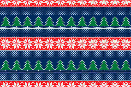 Winter Holiday Pixel Pattern with Christmas Trees. Traditional Nordic Seamless Striped Ornament. Scheme for Knitted Sweater Pattern Design or Cross Stitch Embroidery