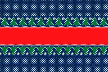 Christmas Pixel Pattern. Seamless Striped Christmas Trees Ornament with a Place for Text