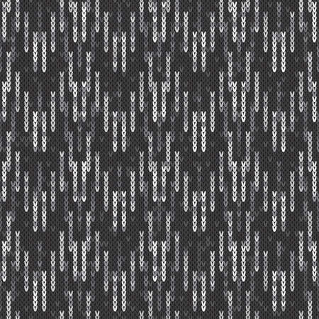 Camouflage Style Abstract Knitted Pattern. Vector Seamless Knit Melange Wool Texture Imitation with Shades of Gray Colors.