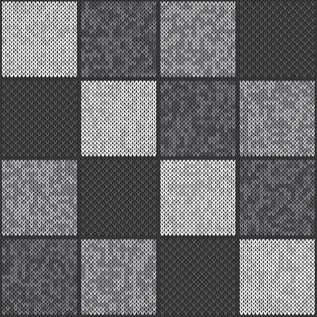 Abstract Checkered Knitted Pattern. Vector Seamless Background with Shades of Gray Colors. Knitting Wool Sweater Design.  イラスト・ベクター素材