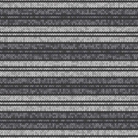 Abstract Striped Knitted Pattern. Vector Seamless Background with Shades of Gray Colors. Knitting Wool Sweater Texture Imitation.