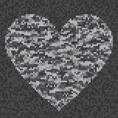 Urban Camouflage Style Knitted Heart. Vector Seamless Knit Melange Wool Texture Imitation with Shades of Gray Colors.