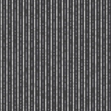 Abstract Striped Knitted Pattern. Vector Seamless Knit Texture with Shades of Grey Colors.
