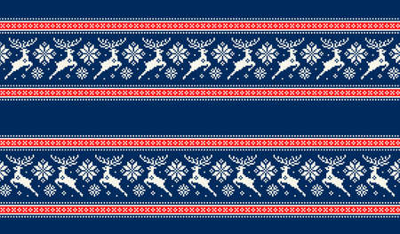 Winter Holiday Pixel Pattern with Christmas Reideers. Traditional Nordic Seamless Striped Ornament. Scheme for Knitted Sweater Pattern Design or Cross Stitch Embroidery