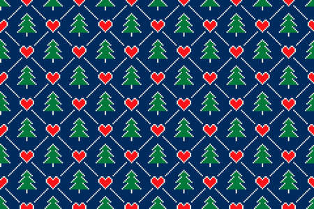 Winter Holiday Pixel Seamless Pattern. Christmas Trees and Hearts Ornament. Scheme for Knitted Sweater Pattern Design or Cross Stitch Embroidery