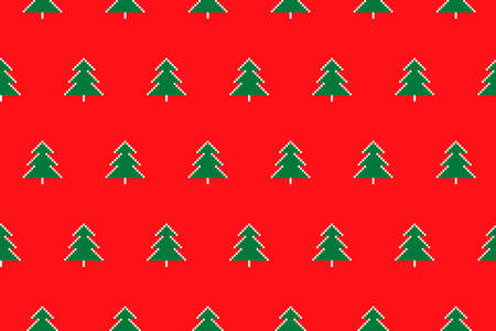 Winter Holiday Pixel Pattern with Christmas Trees Ornament. Vector Seamless Holiday Design Background