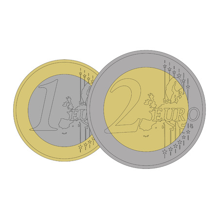 pig iron: Coins of 1 and 2 euros