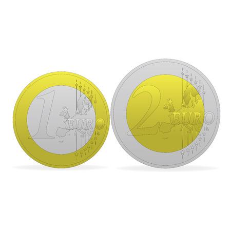 1 and 2 euros Vector