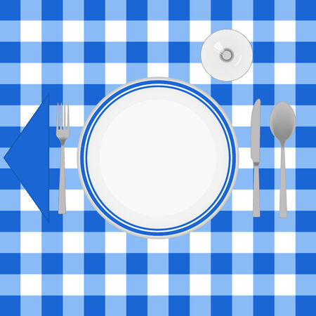 caterer: Blue cloth table with cutlery Illustration
