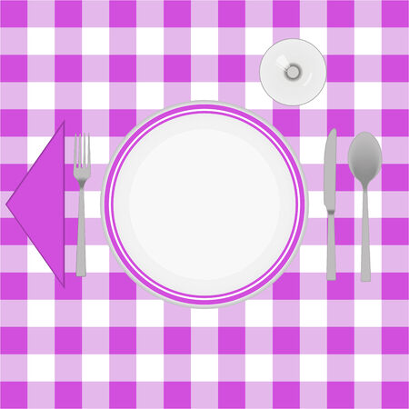 caterer: Pink cloth table with cutlery
