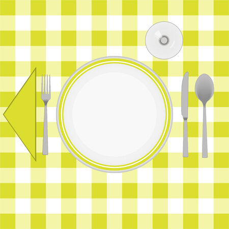 caterer: Yellow cloth table with cutlery