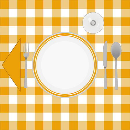 caterer: Orange cloth table with cutlery