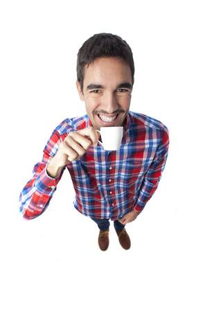 hombre tomando cafe: Hombre feliz de tomar caf� Foto de archivo