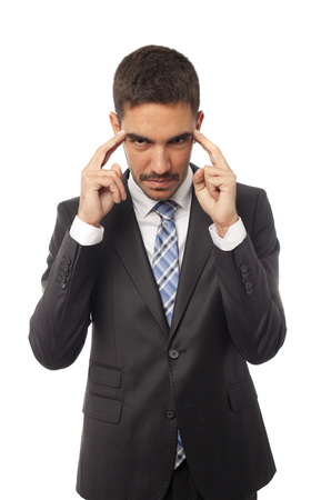 Young businessman concentration gesture