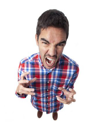 irritate: Angry young man shouting