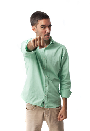 bothered: Furious man showing his fist Stock Photo