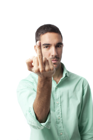 offend: Naughty guy Stock Photo