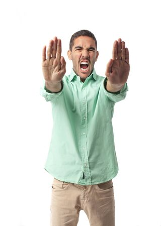 Angry man stop gesture Stock Photo