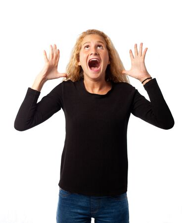 ni�a gritando: Gritos Muchacha sorprendida
