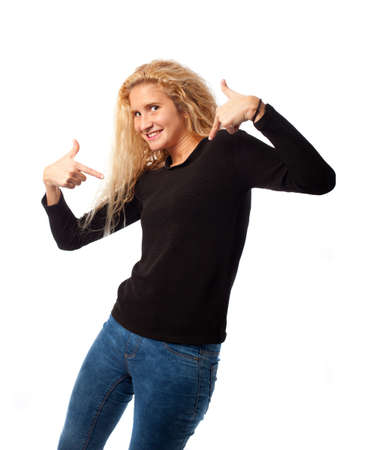 Girl pointing to herself Stock Photo