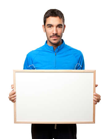 Confident sportsman holding a name card