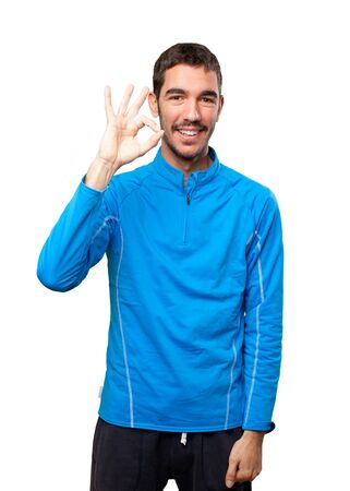 all right: Sportsman all right gesture Stock Photo